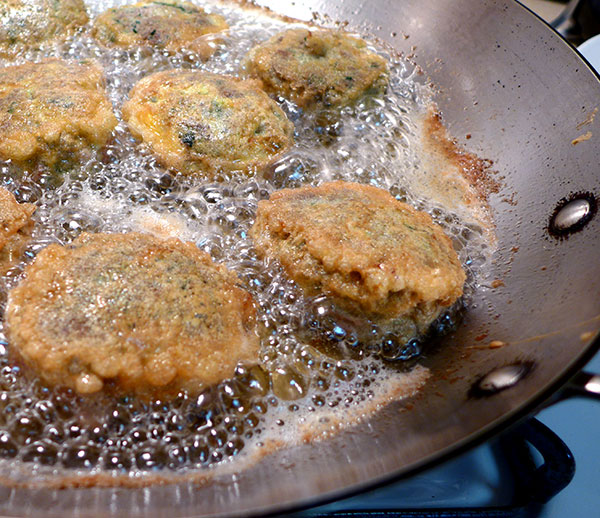 Step 5: Gently place patties into a pan with very hot oil to fry until dark golden-brown on both sides.